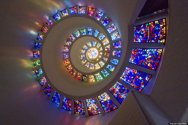 a spiral shaped stained glass window as metaphor for accepting ourselves