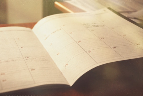 picture of an open calendar as a symbol of monthly hormonal cycle