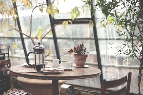 cafe table in a bright room with coffee and plants- bloating