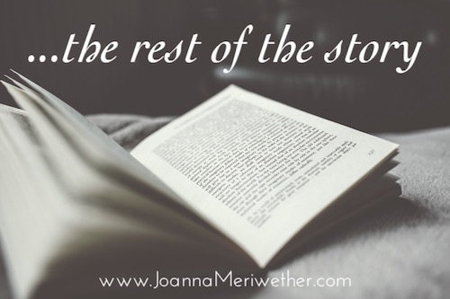 black and white picture of an open book with the words 'the rest of the story' above