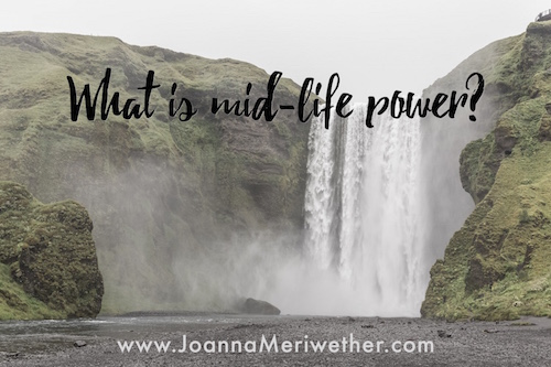 "green cliffs with a white waterfall and the words ""what is mid-life power?"" across the top"