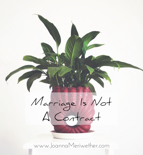 "a large green plant in a red planter with the words ""Marriage is not a contract"" across the middle"