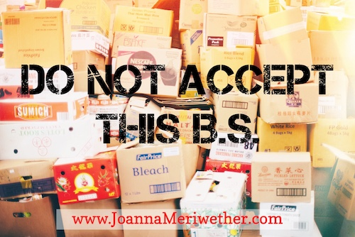 many boxes stacked together with the words 'do not accept this b.s.' across the picture as a symbol of not accepting mid-life stereotypes